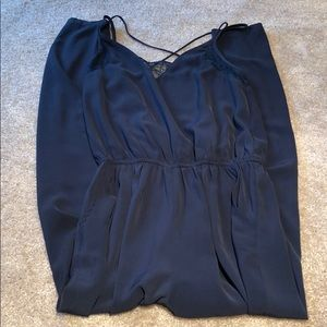 Pants - Navy Blue romper with open back